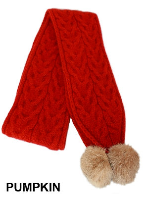 Cable Knit Scarf with Pom Poms (9873)