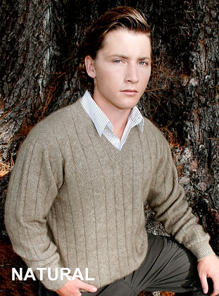 Men's Vee Neck Sweater - Rib pattern (9960)