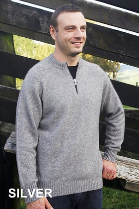 Men's Crew Neck Sweater w 1/4 Zip (9813)