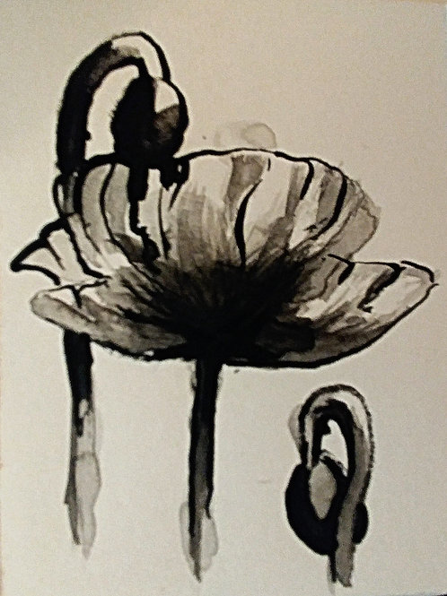 ATC: poppy in sumi