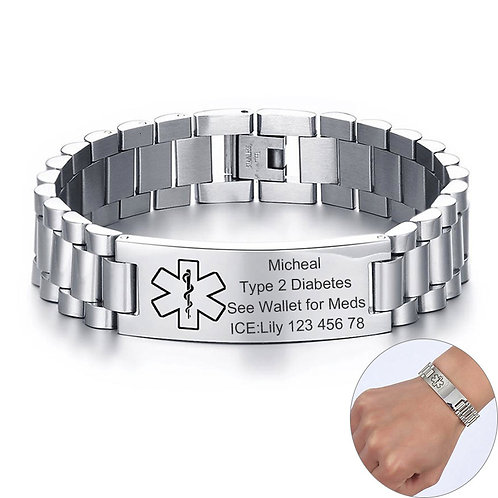 Mens Chunky Medical Alert ID Bracelets Anti Allergy Stainless Steel