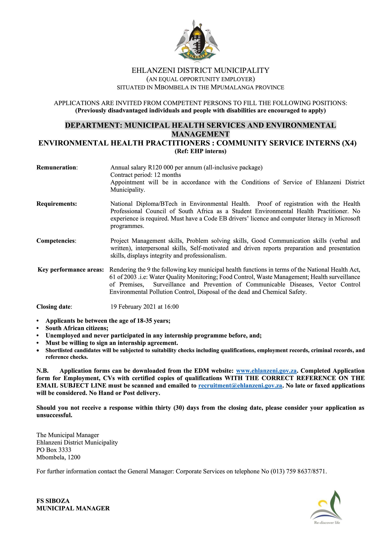 Advert - Community Services EHPS interns