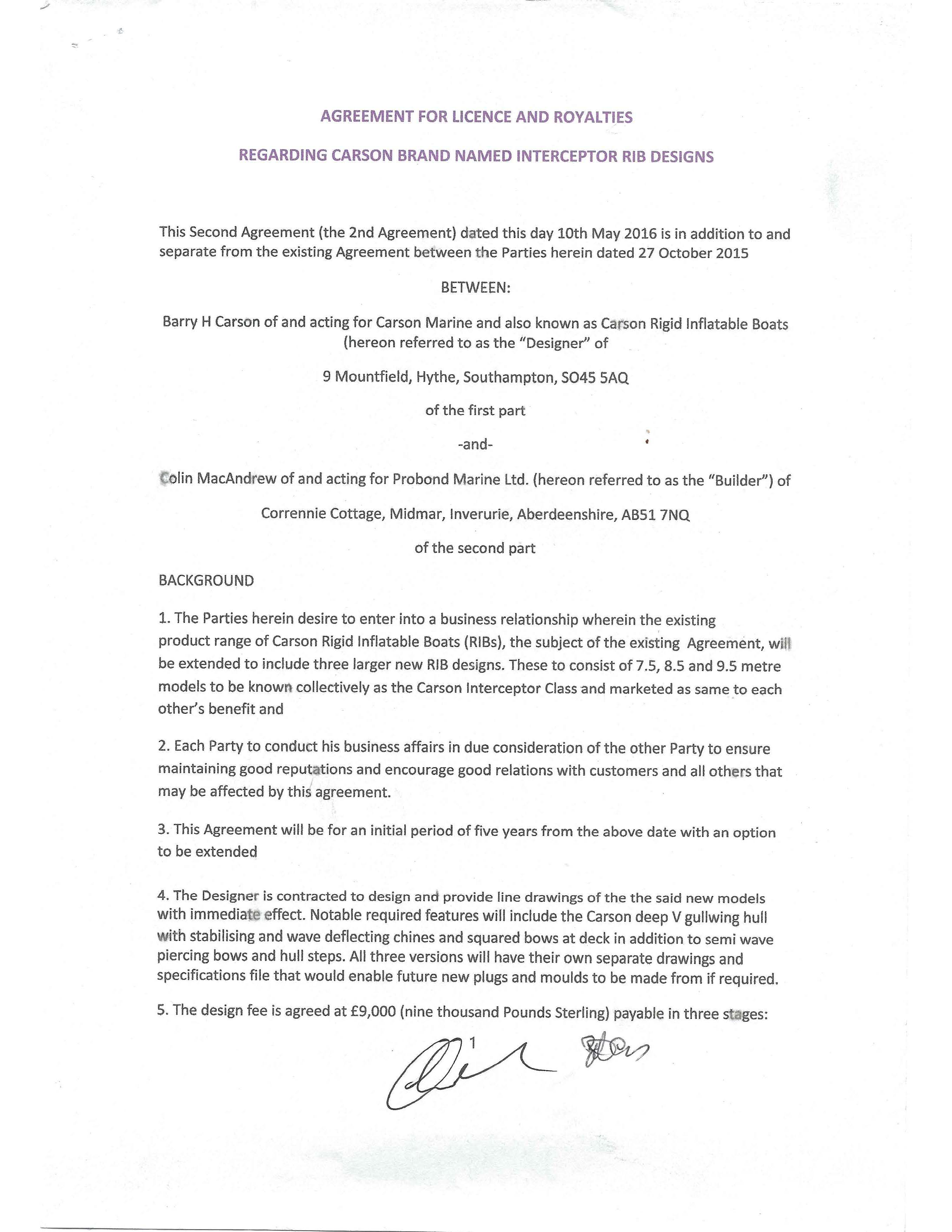 Agreement #2 - Page 1