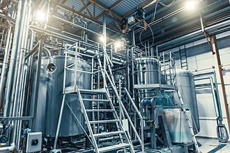 Modern brewery production steel tanks an