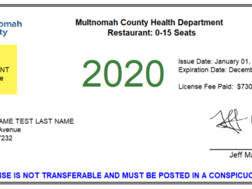 Multnomah County Health Department license number for Cares Act