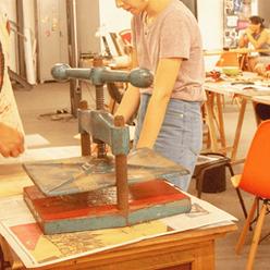 atelie de artes prensa de xilogravura