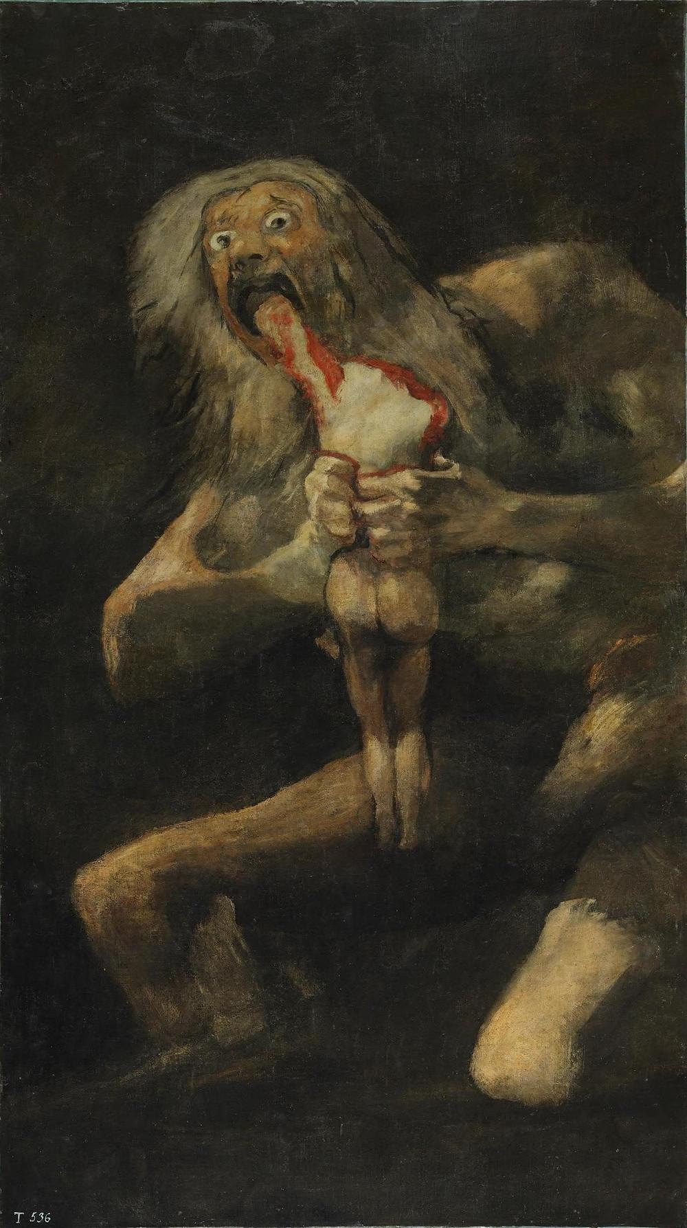 لوحة للفنان فرانثيسكو غويا بعنوان : زاتورن يلتهم ابنه