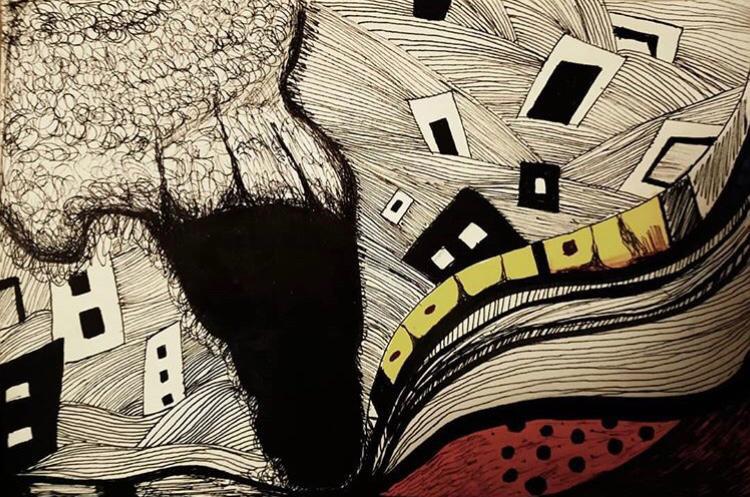 اللوحة لـ : سارة الخياط