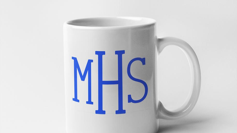 Blue Monogram Mug