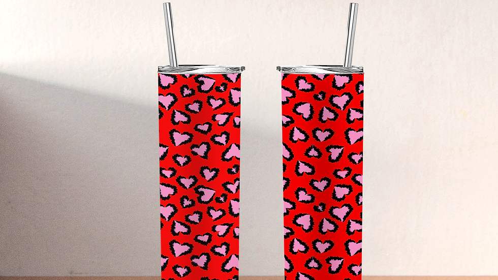 Red Valentine's Day Heart Tumbler