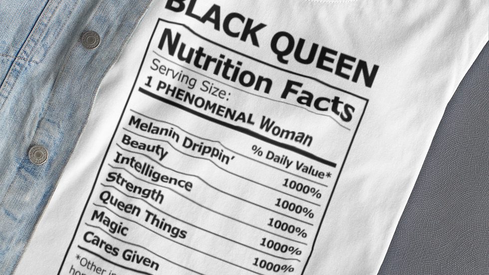 Black Queen Nutrition Facts T-Shirt