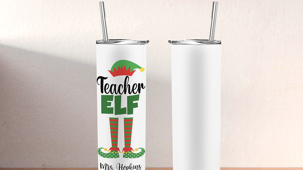 Teacher Elf Skinny Tumbler