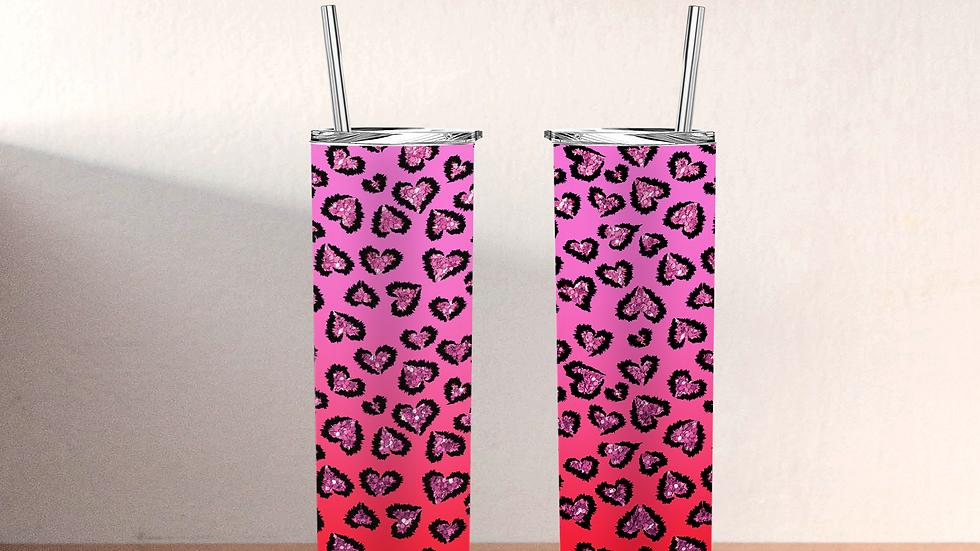 Pink Valentine's Day Heart Tumbler