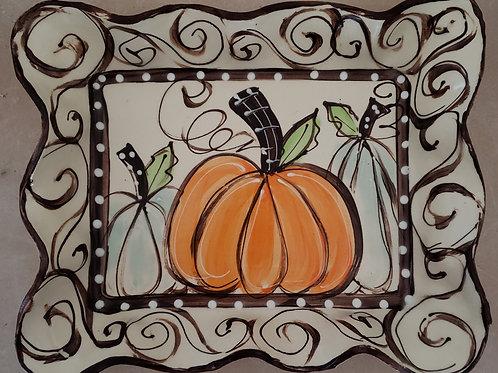 #104 Rectangle Tray Pumpkins Swirl