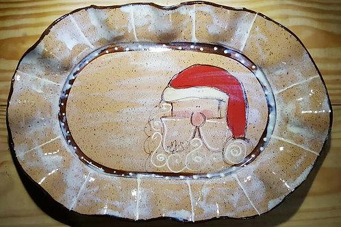 Oval platter santa bc apprx  14.5 x 10 x 1.5