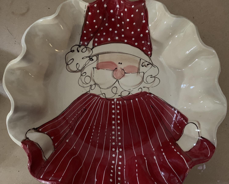 Large round bowl santa