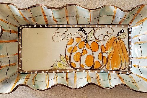 #123 Medium Rectangle Tray Pumpkins Dots Fall New