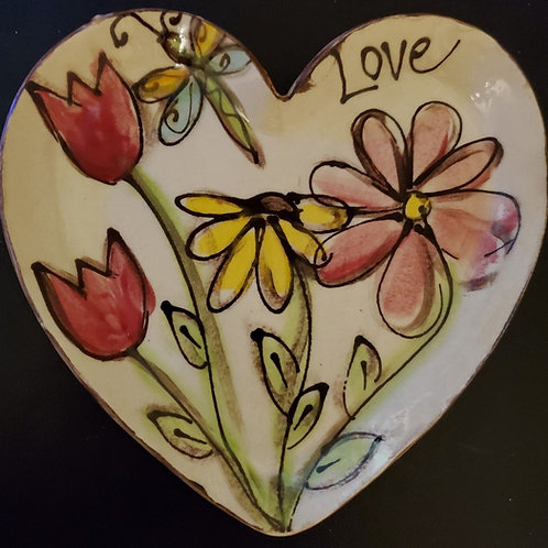 Heart Plate Dragonfly Flowers Love