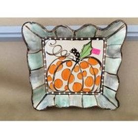 #700 Medium square tray pumpkin dots