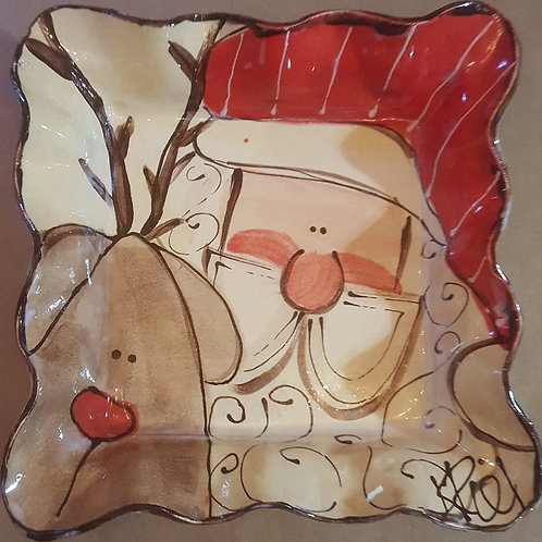 Square medium tray santa reindeer