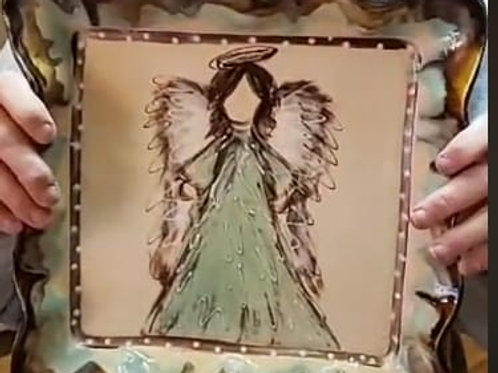 Square platter with Angel