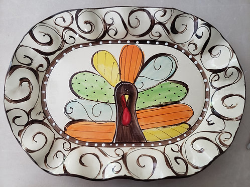 #114 Oval Platter Turkey Swirls