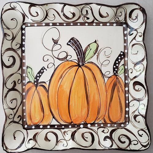 #512 Square Platter Pumpkins Swirl