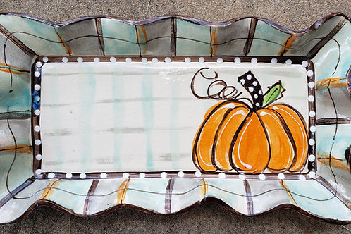 #123 Medium Rectangle Tray Pumpkin Fall New