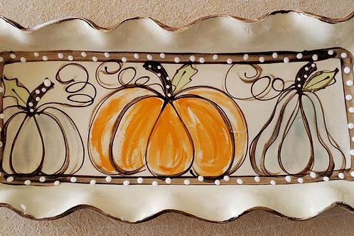 #414 Long Rectangle Tray Pumpkins AW