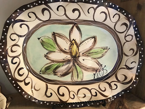 Oval platter magnolia pic  apprx  14.5 x 10 x 1.5