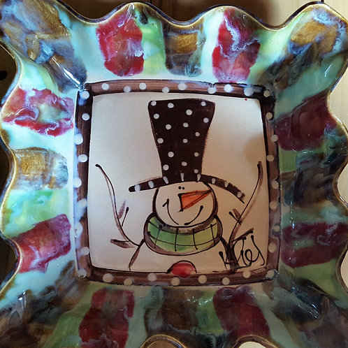 Medium Square bowl snowman H