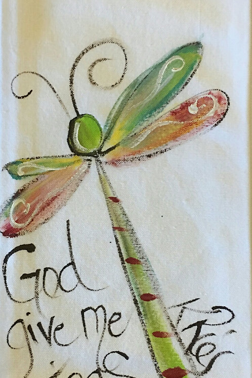 dragonfly hand towel give me wings