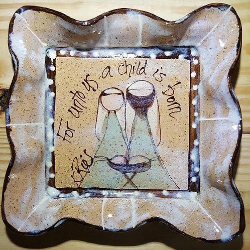 Medium square tray nativity bc