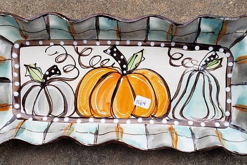 #414 Long Rectangle Tray Pumpkins Fall New