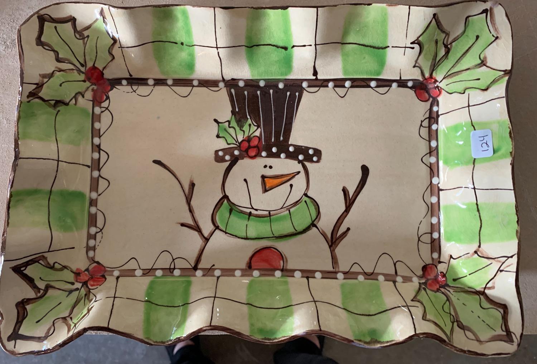 124 snowman holly  ~ 13 x 9 x 1.5