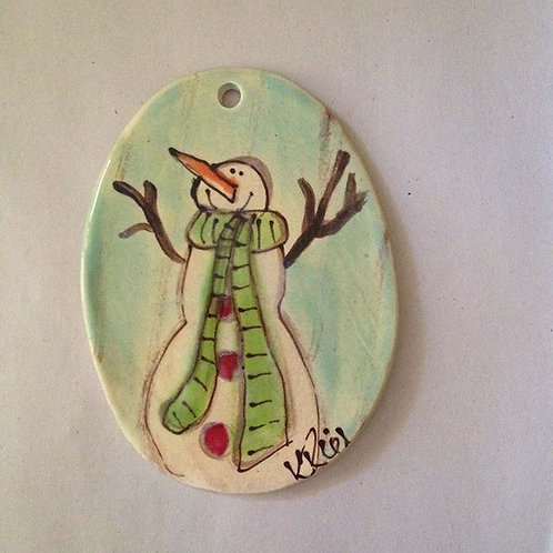 Snowman oval orn