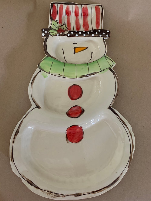 Snowman platter red striped hat holly