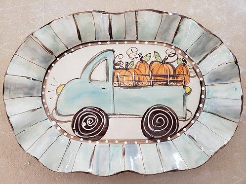 #114 Oval Platter Pumpkin Truck Fall New