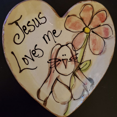 Heart Plate Jesus Loves Me Bunny