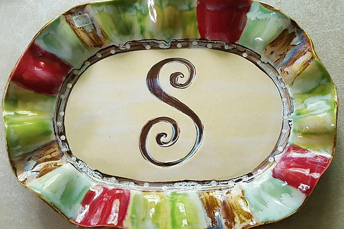 H Oval platter with initial apprx  14.5 x 10 x 1.5