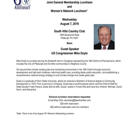 BBW Chamber Welcomes Congressman Mike Doyle