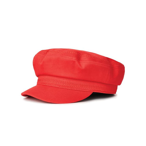 Embroidered Heart Fiddler Cap Red