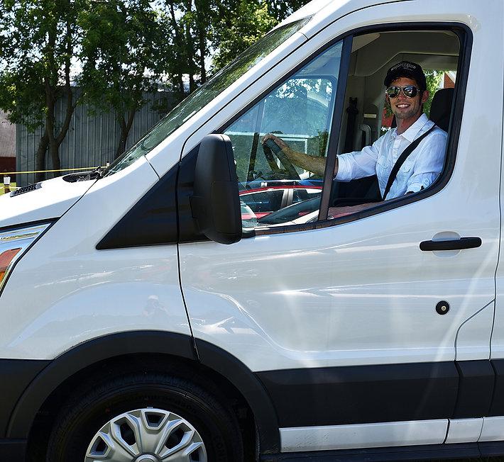 Wedding day shuttle van