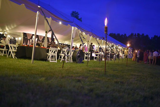 Outdoor Wedding Reception Tent with Lighting