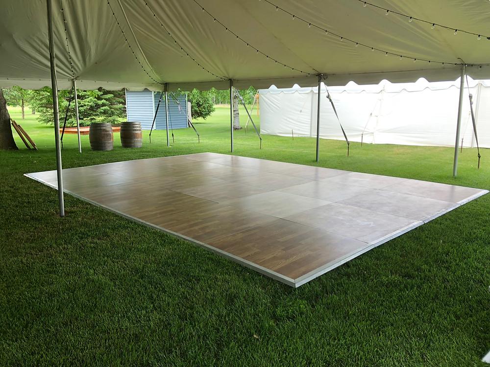 Dance floor under a tent in Minnesota