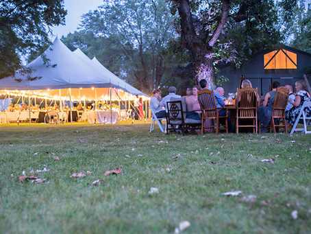 What size tent do I need to rent for a outdoor wedding reception?
