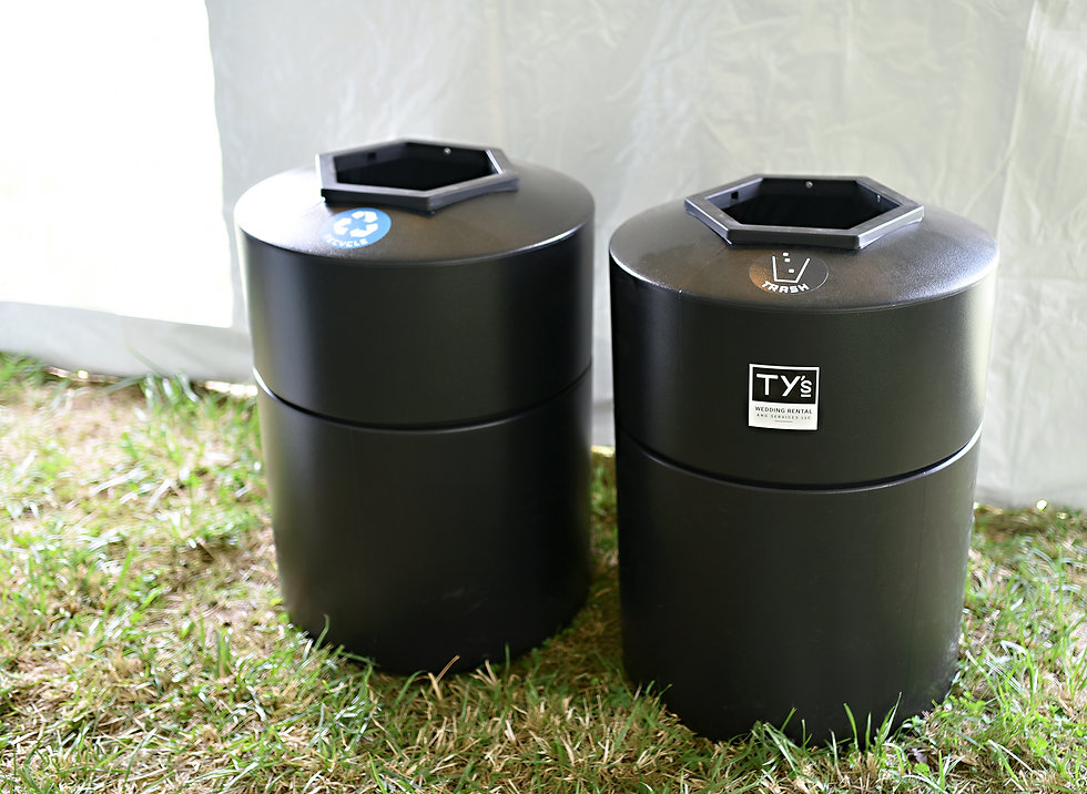 Black Trash Cans used during a wedding reception