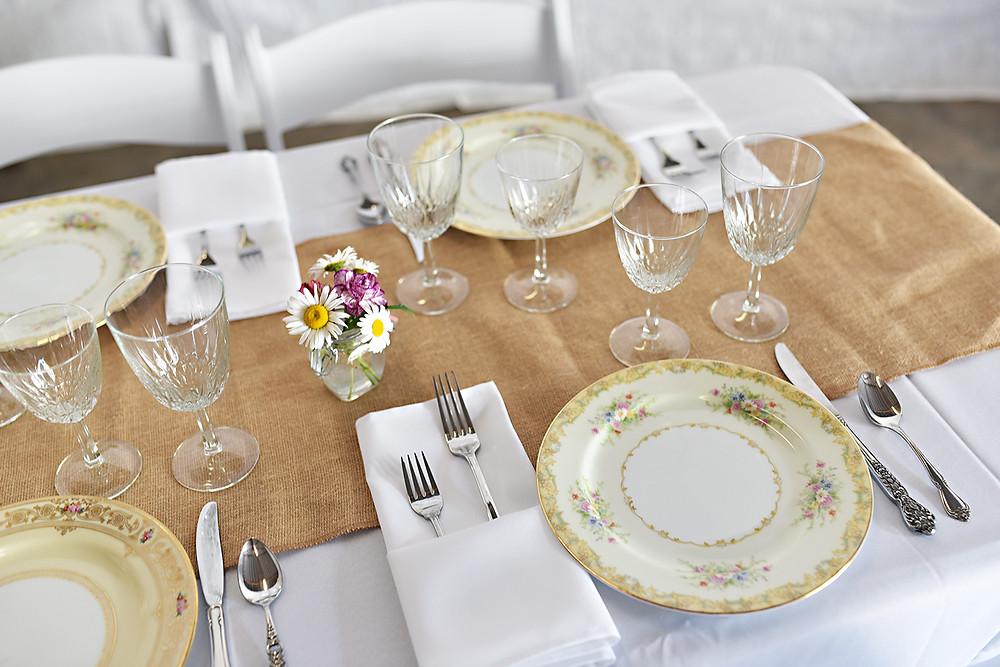 Wedding Reception Dinnerware, cutlery, drinkware, stemware