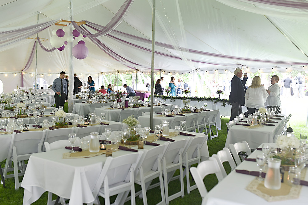 Wedding reception tent at a cabin