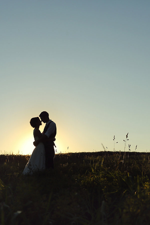 Sunset picture of a Bride and Groom